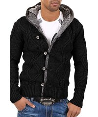 Pánský černý svetr s kapucí CARISMA