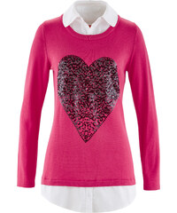 bpc bonprix collection Pullover in Doppeloptik langarm in lila für Damen von bonprix