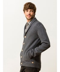 Gilet Homme Coton/laine Col Châle Somewhere, Couleur Anthracite / Zinc
