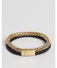 Vitaly Tzu - Armband mit Kette und Leder in Gold/Schwarz - Gold