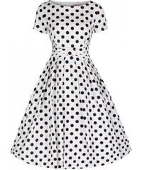 LINDY BOP Dámské šaty Hazel bílé s puntíky