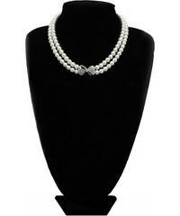 Perlový náhrdelník se štrasovou mašličkou