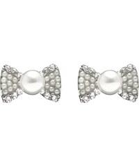 Náušnice štrasová mašlička s perlou