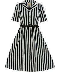 LINDY BOP Retro dámské šaty Bletchley černý proužek