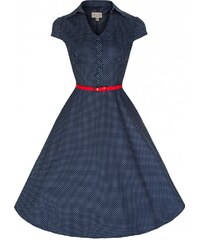 LINDY BOP Dámské retro šaty Rebecca modré s bílými puntíky