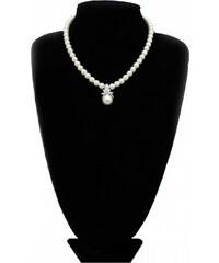Perlový náhrdelník bílý s perlovou broží