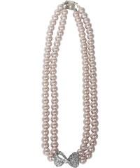 Perlový náhrdelník se štrasovou mašličkou růžový