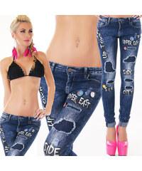 Dámské džíny s nápisy Simply Chic modrá