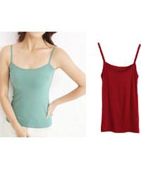 Lesara 2er-Set Unterhemd mit Spaghettiträgern mehrfarbig - Türkis & Rot - 36-38