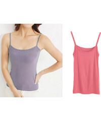 Lesara 2er-Set Unterhemd mit Spaghettiträgern mehrfarbig - Pink & Violett - 36-38