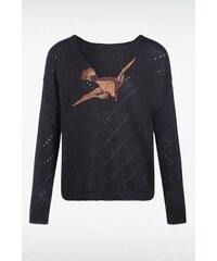 Pull femme col v motif oiseau Bleu Mohair - Femme Taille L - Bonobo