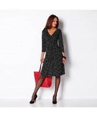 Blancheporte Šaty z úpletu s potiskem puntíků černá/režná puntík 36