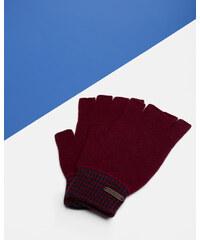 Ted Baker Knitted fingerless gloves Dunkelrot