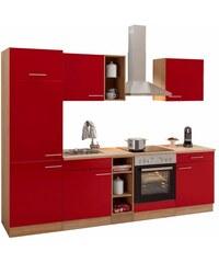 Küchenzeile Kalmar mit E-Geräten Breite 270 cm OPTIFIT rot