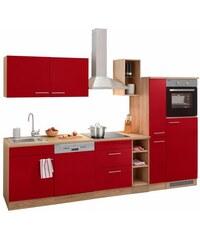OPTIFIT Küchenzeile Kalmar mit E-Geräten Breite 300 cm rot