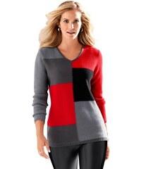 CLASSIC BASICS Damen Classic Basics Pullover mit 3-farbigem Muster im Vorderteil grau 38,40,42,44,46,48,50,52,54,56