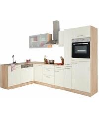OPTIFIT Winkelküche Kalmar mit E-Geräten Stellbreite 300x175 cm natur