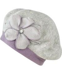 Art of Polo Pletený baret s květem a kamínkem světle šedý