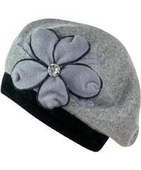 Art of Polo Pletený baret s květem a kamínkem tmavě šedý