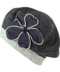 Art of Polo Pletený baret s květem a kamínkem šedý