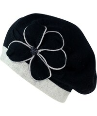 Art of Polo Pletený baret s květem a kamínkem černý