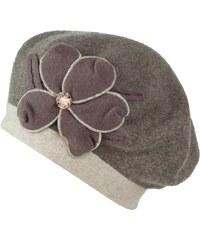 Art of Polo Pletený baret s květem a kamínkem béžový