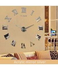 Nástěnné hodiny nalepovací MAXI stříbrné - římské číslice