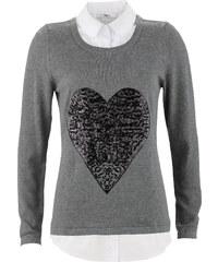bpc bonprix collection Pullover in Doppeloptik langarm in grau für Damen von bonprix
