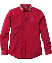 RAINBOW Stretch-Langarmhemd Slim Fit in rot von bonprix