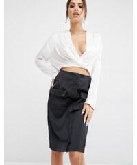 Kendall + Kylie - Surplice - Hemd mit abfallendem Saum - Weiß