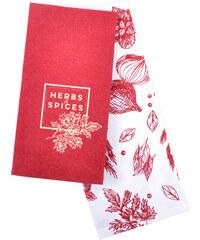 Utěrka SPICES, 2 kusy 100% bavlna, červená, 45x65 cm Essex