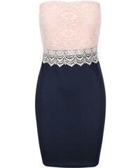 Růžovo-modré šaty s krajkou AX Paris