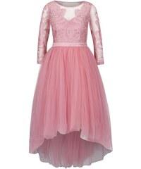 Růžové šaty s 3/4 rukávem a krajkovaným topem Chi Chi London