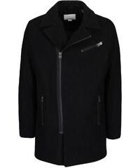 Černý vlněný kabát s asymetrickým zapínáním Shine Original