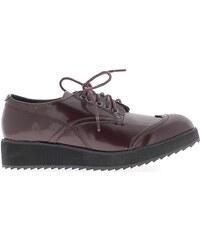 Chaussmoi Chaussures escarpins Derbys femme bordeaux à semelle épaisse
