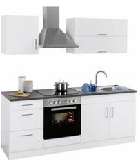 HELD MÖBEL Küchenzeile Graz mit E-Geräten Breite 210 cm weiß