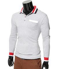 Maritimi Langarmpoloshirt mit gestreiften Details - Grau - S