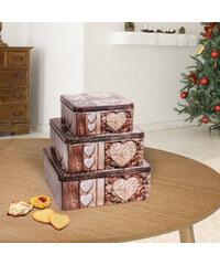 Lesara 3-teiliges Keksdosen-Set mit Holzherzmotiv