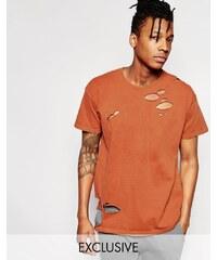 Reclaimed Vintage - Oversized-T-Shirt im Used-Look - Braun