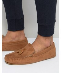 ASOS Slippers In Brown With Faux Shearling Lining - Braun