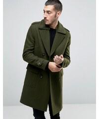 ASOS - Mantel aus Wollmischung mit Teddykragen - Grün