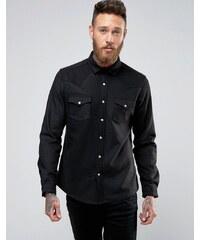 ASOS Wool Western Shirt In Regular Fit - Schwarz