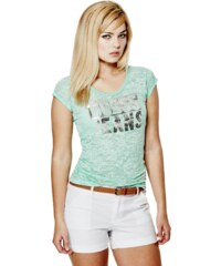 GUESS tričko Belicia Logo Tee mentolkové  d97031caa58