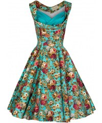Lindy Bop retro šaty Ophelia TURQ FLORAL