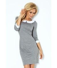 SAF Dámské pouzdrové šaty s límečkem šedé bludiště