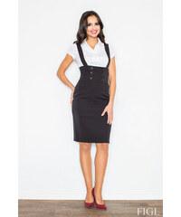 5e3a2a2b1d7c FIGL Čierna sukňa s vysokým pásom a ramienkami M010