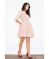 b808a11032be FIGL Dámske ružové RETRO šaty z prešívaného materiálu M235