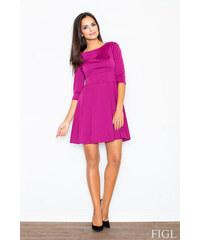 FIGL Dámske fuchsiové šaty v A línii s kruhovou sukňou a 3 4 rukávmi M081 4445df7e1fd