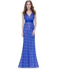 Tmavě modré saténové společenské šaty se vzorem - Glami.cz 2eb2b9950e
