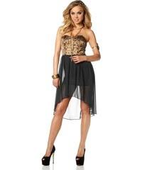 Dámské korzetové šaty MELROSE s leopardím vzorem 36 černá